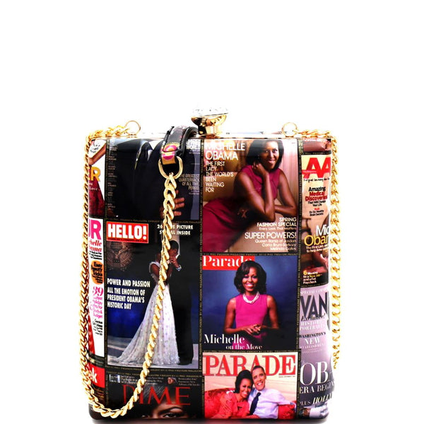 Michelle Obama Magazine Print Jewel Knob Clutch Dressy Frame Square Satchel Shoulder Bag