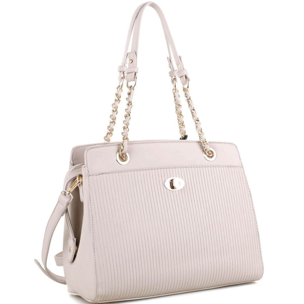 Turn-Lock Accent Pinstripe Embossed 2-Way Chain Tote Bag