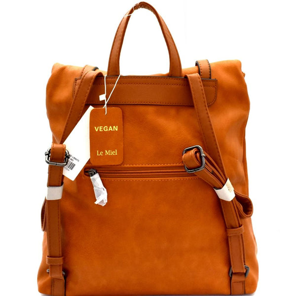 Two-Tone Belted Roll-Up Flap PU Leather Backpack
