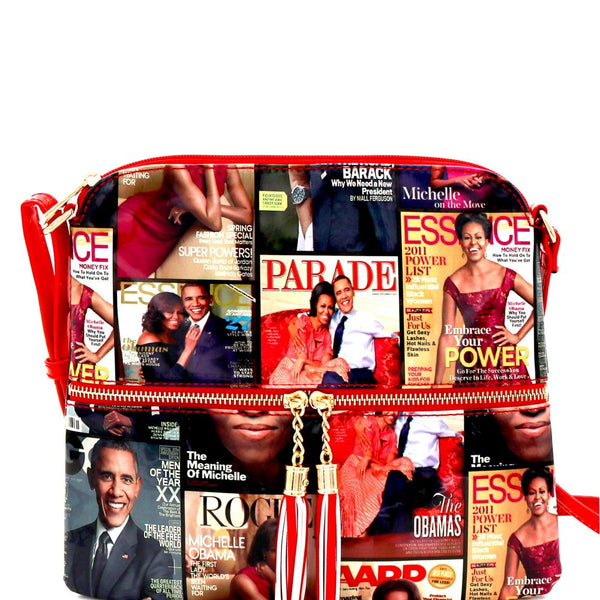 Michelle Obama Magazine Cover Print College Front Pocket Tassel Accent Cross Body Bag