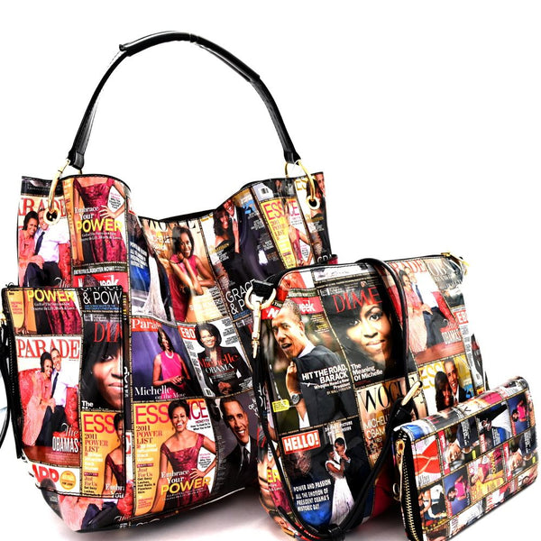 Michelle Obama Magazine Print Side Pocket 3 in 1 Hobo Bag with Cross Body and Wallet SET