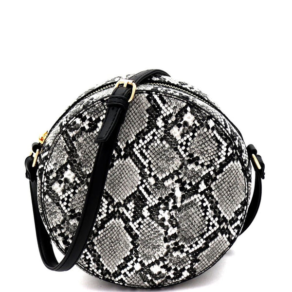 Snake Print Round Cross Body Shoulder Bag