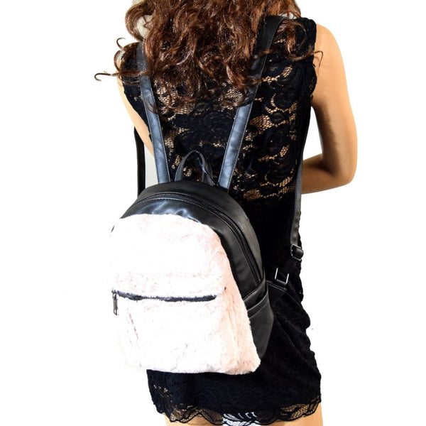 Fur Accent Front Pocket Fashion Backpack