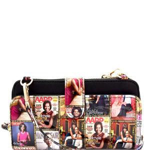 Michelle Obama Magazine Print Versatile Wallet Cellphone Holder Cross Body