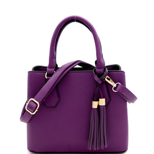 Tassel Accent 3-Compartment Medium 2-Way Satchel Bag