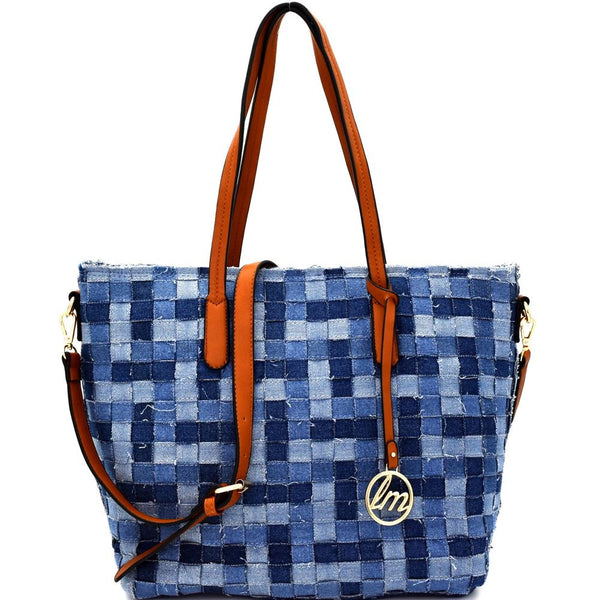 Vintage Multi-Color Denim Jean Woven Shopper Tote Handbag