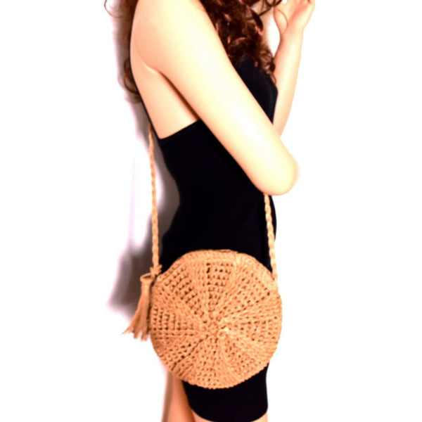 Tassel Accent Knitted Straw Bohemian Round Cross Body Bag