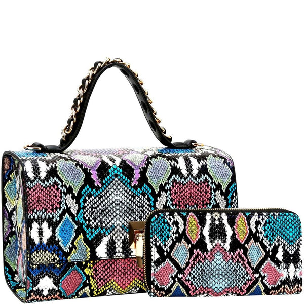 Snake Print Flip-lock 2-Way Box Satchel Bag