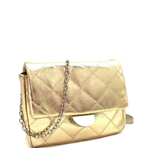 Quilted Metallic Chain Cross Body Shoulder Bag