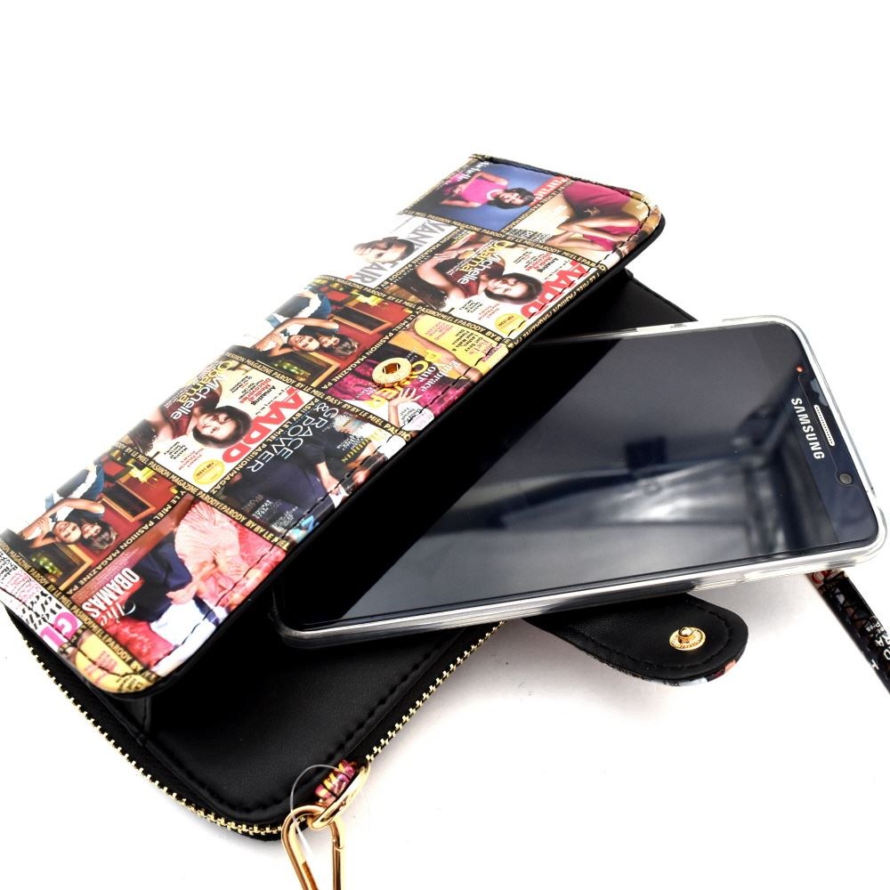 pretty nice 0e442 57b56 Michelle Obama Magazine Print Versatile Wallet Cellphone Holder Cross Body