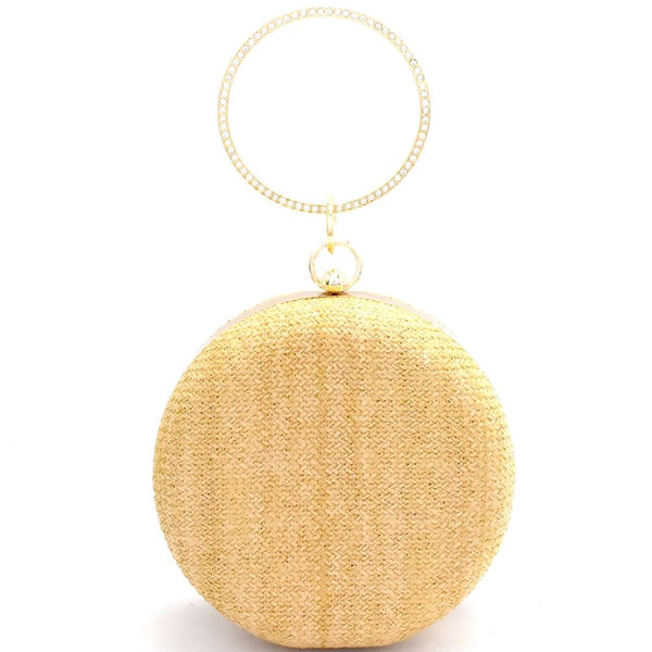 Straw Theme Rhinestone Ring Handle Round Frame Clutch Purse