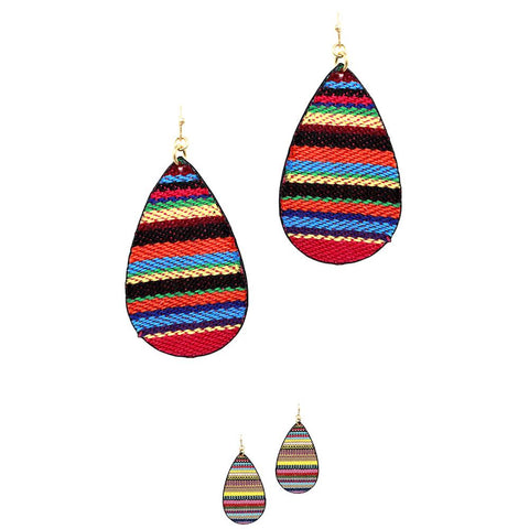 Serape Pattern Tribal Aztec Teardrop Earring