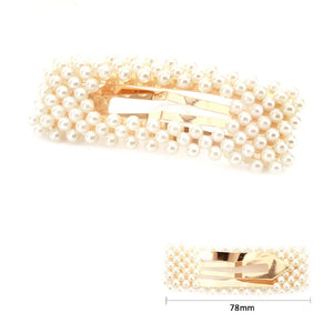 Plastic Pearl Embellished Large Open-cut Rectangular Clip Hair Pin Cream
