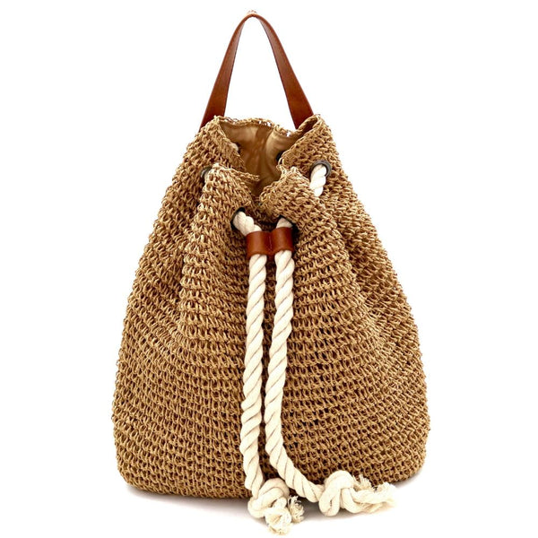 Knitted Straw Rope Drawstring Fashion Backpack