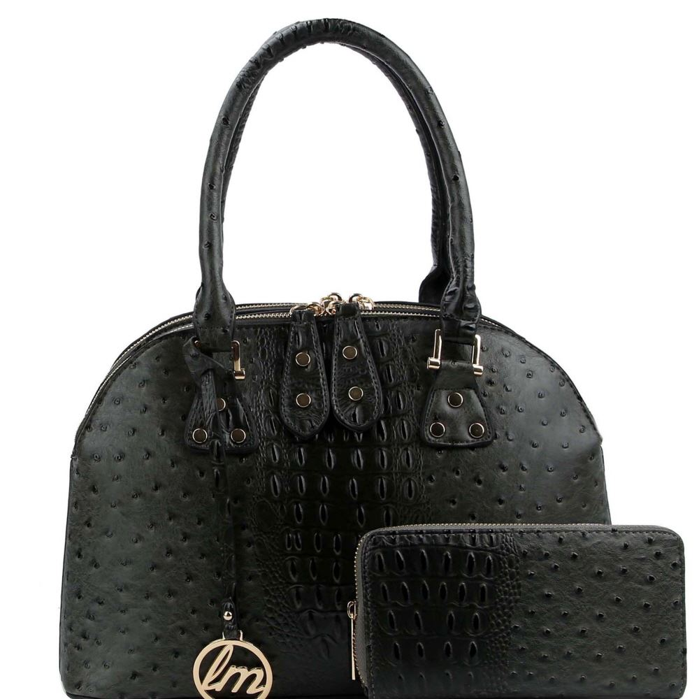 Ostrich Embossed Double-Compartment Satchel SET with Wallet