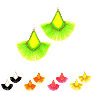 Celluloid Neon Fan Tassel Baroque Earring