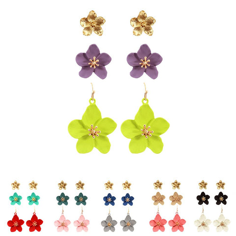 Rhinestone Color-coated Metal Epoxy Flower Earring 3 Pair SET