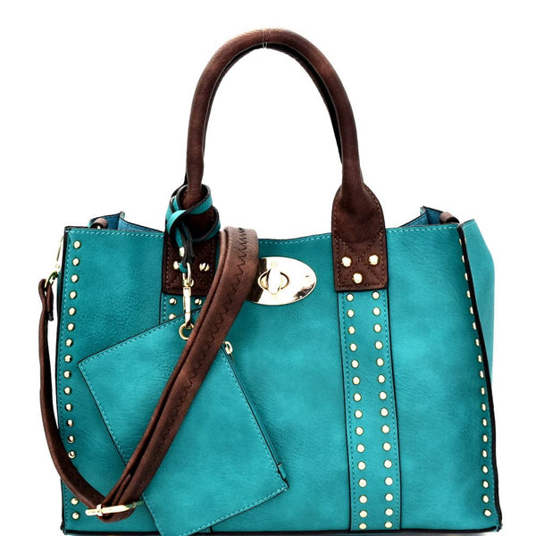 Turn-Lock Studded 3 in 1 Tote Purse with Crossbody Bag and Pouch