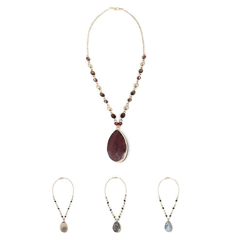 Semi-Precious Stone Pendant Wood Metal Bead Necklace