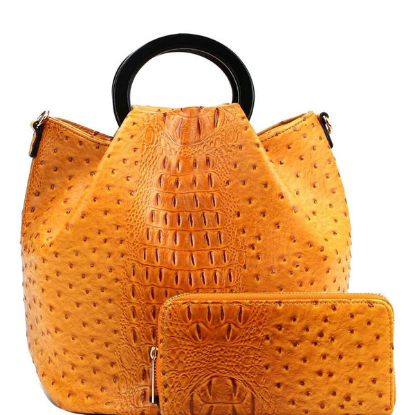 Handle Accent Ostrich Embossed 2-Way Satchel Bag and Wallet SET