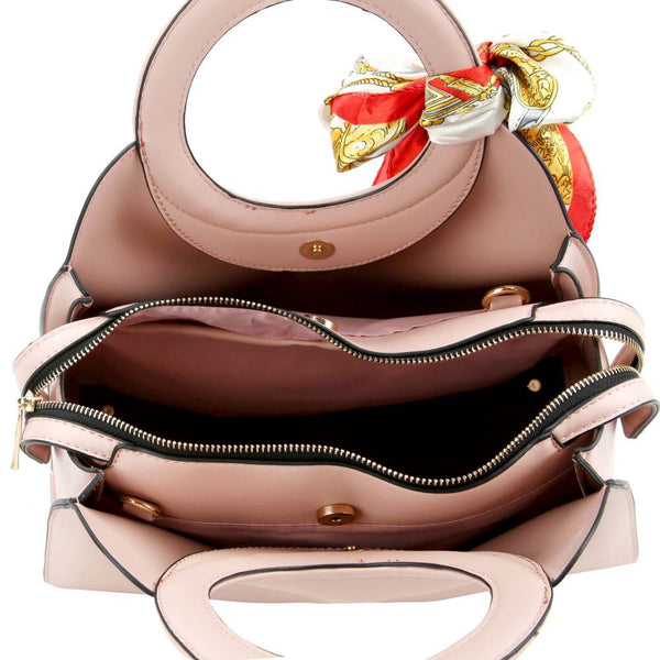 Scarf Accent 3-Compartment Round Handle PU Leather Satchel Purse
