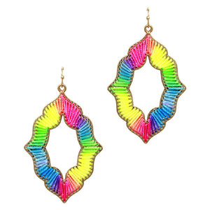 Mixed Neon Color Thread Open-cut Earring
