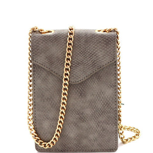 Lizard Pattern Chain Strap Cellphone Holder Cross Body Bag