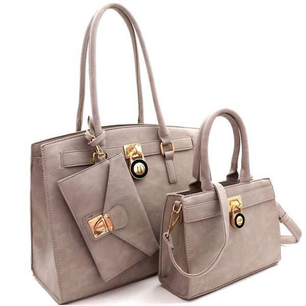 Padlock Accent 3 in 1 PU Leather Twin Tote bags and Wristlet Value SET