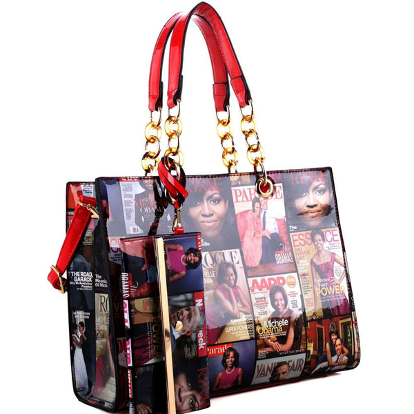 Hologram Patent PU Leather Michelle Obama Magazine Cover Print 2 in 1 Linked Chain Tote Bag Purse SET