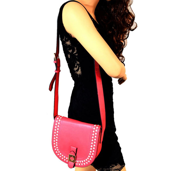 Contrasting Color Stitch Trim Flap PU Leather Cross Body Bag