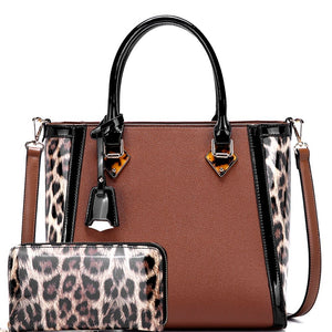Patent Leopard Trim 2-Way Tote Bag and Wallet SET