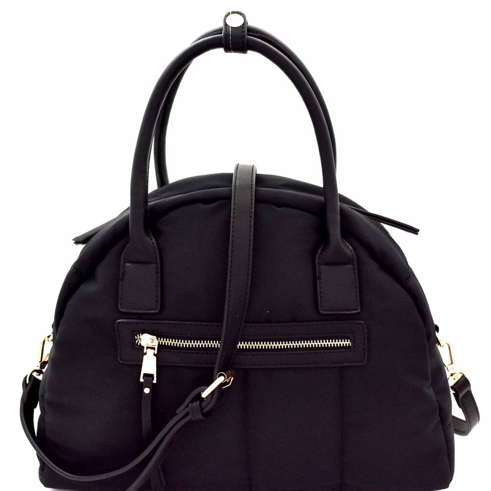 Quilted Nylon 2-Way Dome Satchel Bag Black