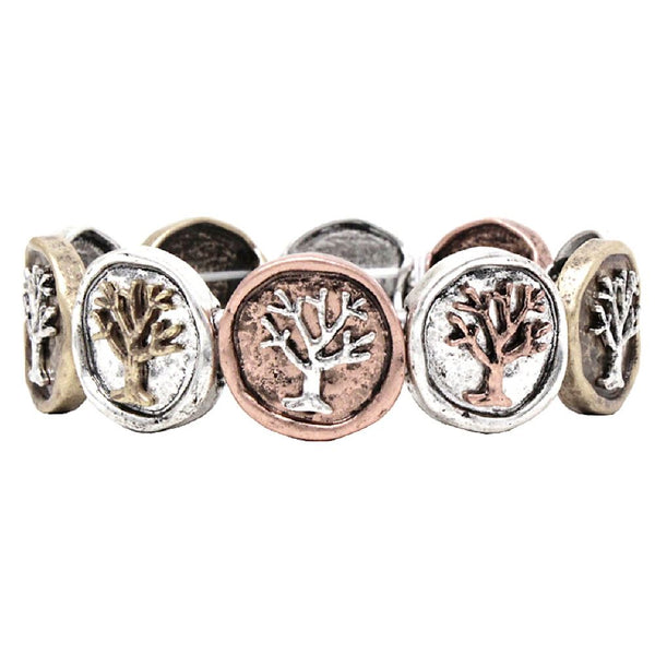 Tree of Life Multicolored Metal Charm Stretch Bracelet