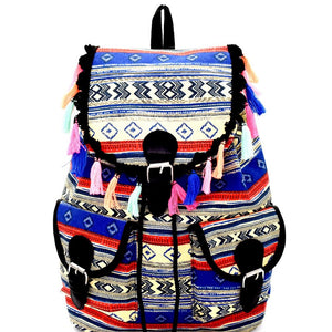 Thread Tassel Accent Aztec Tribal Drawstring Backpack