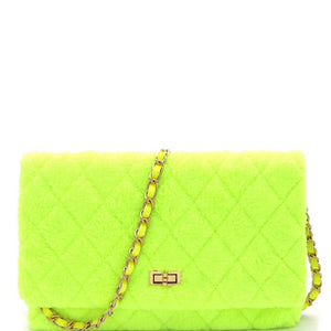 Quilted Faux Fur Turn-Lock Chain Neon Cross Body Shoulder Bag