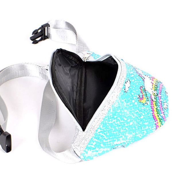 Unicorn Printed Sequin Novelty Fanny Pack