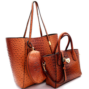 Ostrich Embossed Turn-Lock Satchel 3 in 1 Tote Value SET
