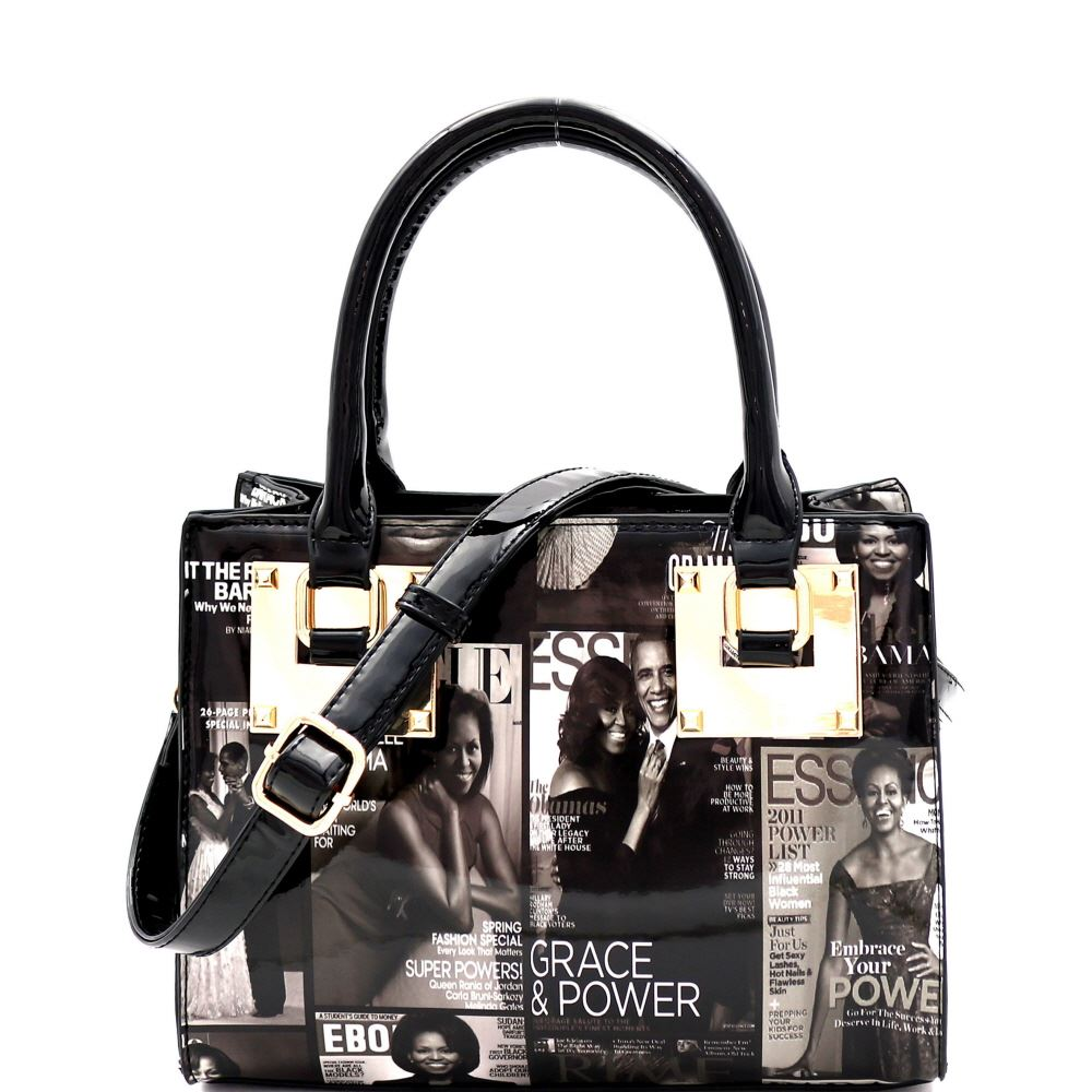 Michelle Obama Magazine Print Hardware Accent 2-Way Medium Satchel