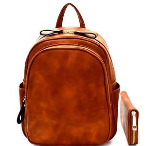 Multi-Pocket PU Leather Fashion Backpack and Wallet SET