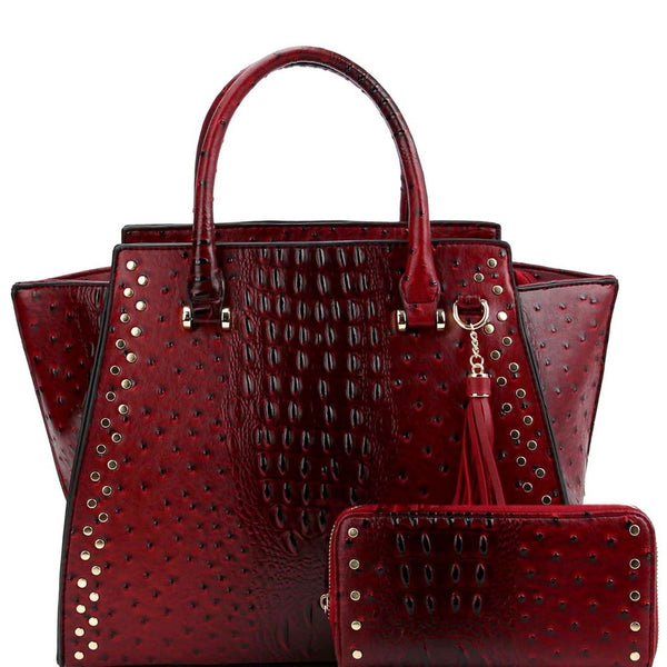 Tassel Accent Ostrich Print Studded Wing Satchel Wallet SET