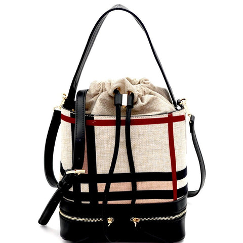 Checker Plaid Print Linen Drawstring Bucket Satchel Bag