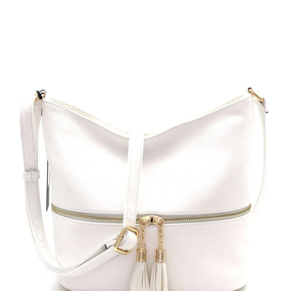Zipper Pocket Accent PU Leather Roomy Cross Body Bag