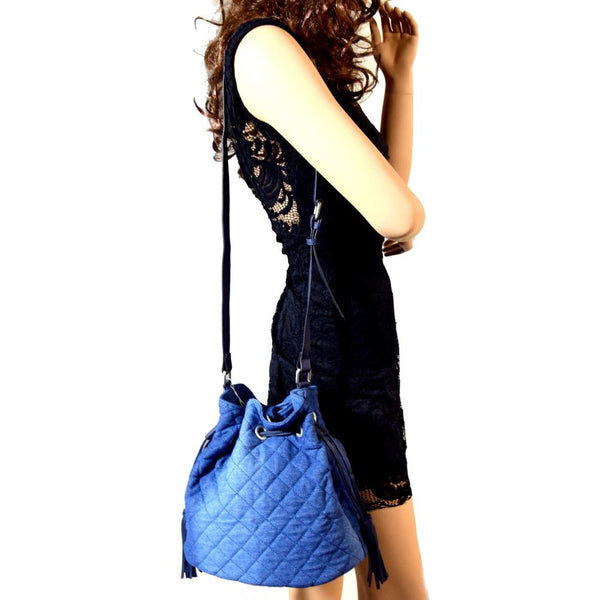 Quilted Denim Drawstring Bucket Crossbody Bag