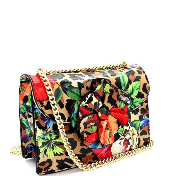 Flower Accent Leopard Print Patent 2-Way Shoulder Bag