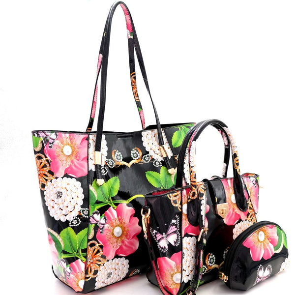 Flower Butterfly Print Patent PU Leather 3 in 1 Shopper Tote Purse and Satchel Bag with Pouch