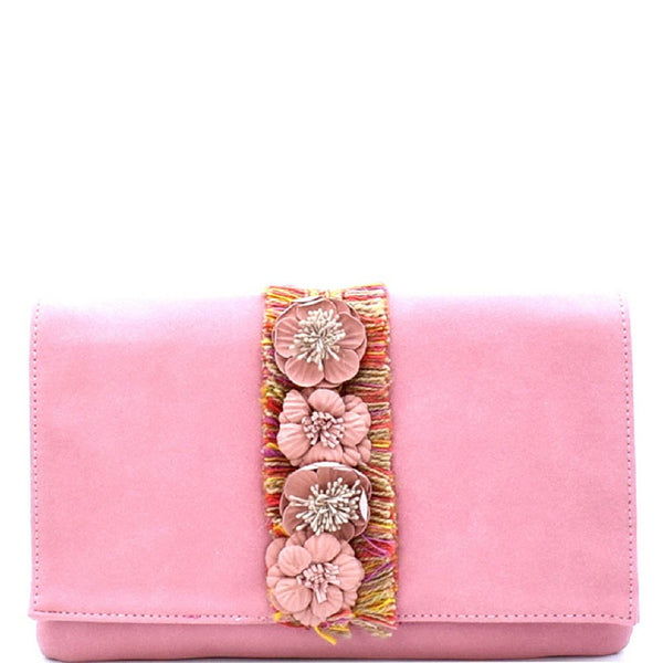 3D Flower Accent PU Leather Clutch CrossBody Bag