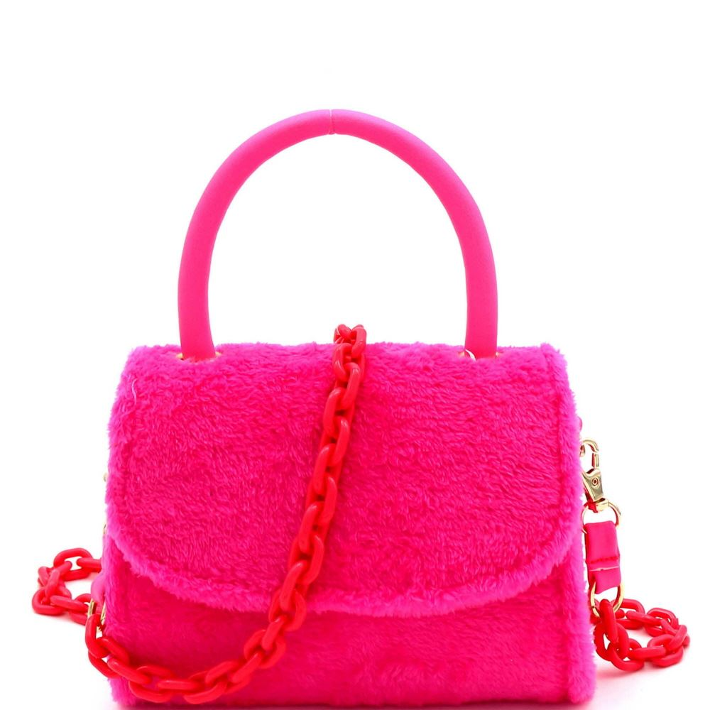 Faux-Fur Top-Handle Small Flap Satchel with Plastic Chain Strap