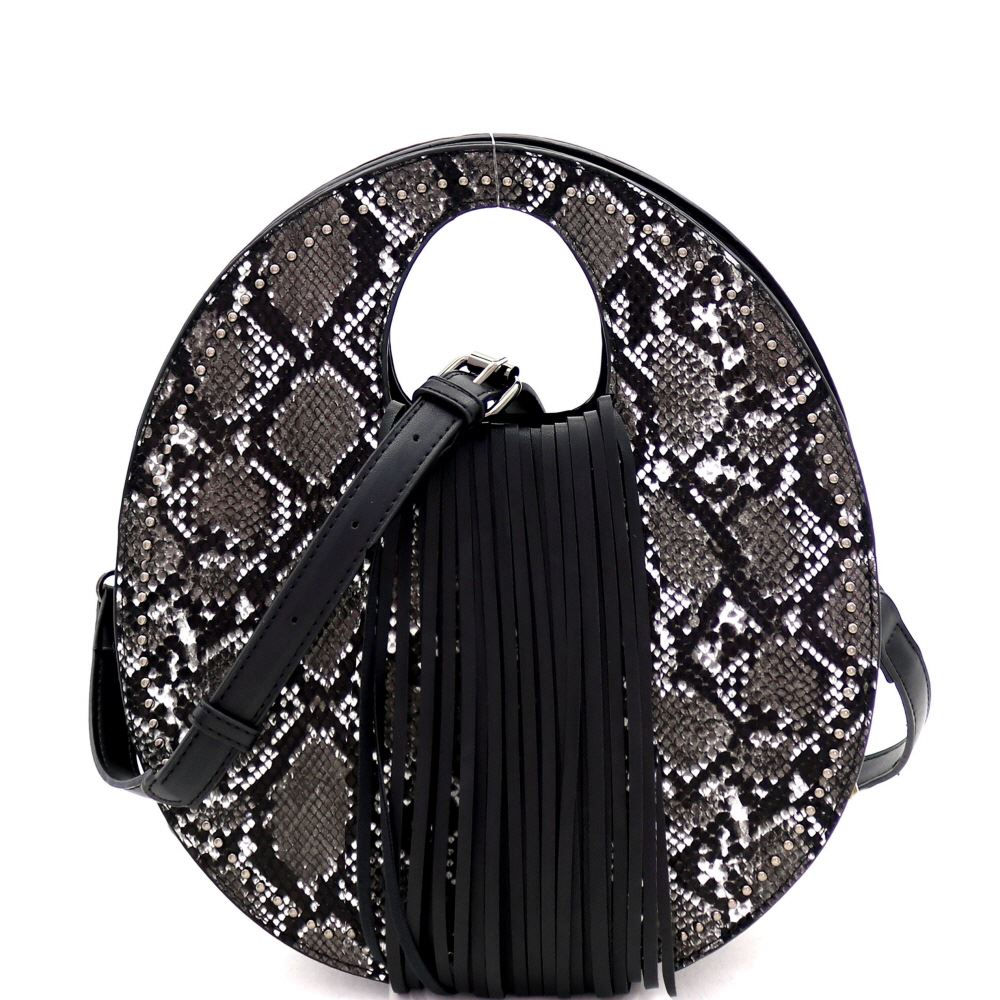 Snake Print Fringed Cut-Out Handle 2-Way Medium Satchel Bag