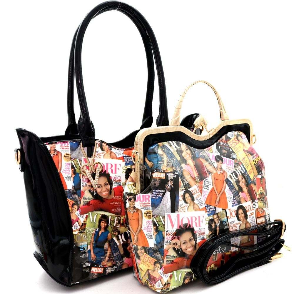 Michell Obama Magazine Print Patent 2 in 1 Metal Handle Satchel Bag with Tote Value SET