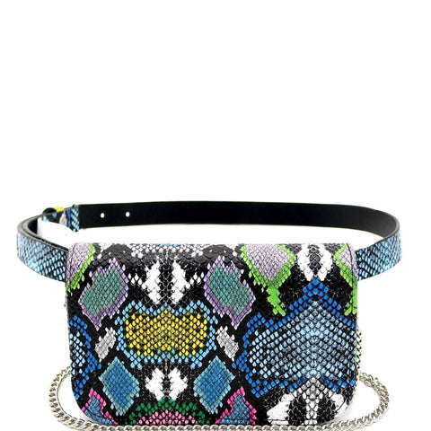 Snake Print 2-Way Shoulder Bag Fanny Pack with Belt